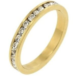 Jewelry - Gold Eternity Ring CubicZirconia Size 8 9 10 11 12